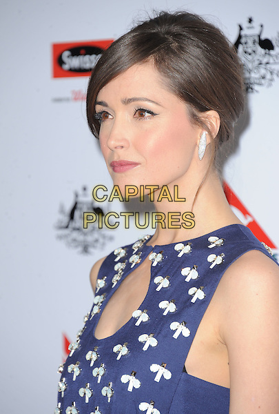 Rose Byrne.at The G'Day USA Black Tie Gala held at The JW Marriot at LA Live in Los Angeles, California, January 12th 2013.                                                                 .portrait headshot blue  cut out navy white beaded beads hair up fringe print side profile earring .CAP/DVS.©Debbie VanStory/Capital Pictures.