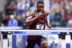 NAPERVILLE, IL - MARCH 11: Cody Hall of Trinity University competes in the 60 meter hurdles at the Division III Men's and Women's Indoor Track and Field Championship held at the Res/Rec Center on the North Central College campus on March 11, 2017 in Naperville, Illinois. (Photo by Steve Woltmann/NCAA Photos via Getty Images)