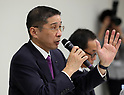 November 17, 2017, Yokohama, Japan - Japanese automobile giant Nissan Motor president Hiroto Saikawa speaks before press as the company has been carrying out flawed inspections of their vehicles at the Nissan headquarters in Yokohama, suburban Tokyo on Friday, November 17, 2017. Saikawa and other company executives will return their pay following the final vehicle inspections scandal.     (Photo by Yoshio Tsunoda/AFLO) LWX -ytd-