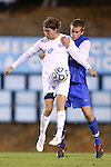 06 November 2012: UNC's Andy Craven (10) and Duke's Nat Eggleston (behind). The University of North Carolina Tar Heels defeated the Duke University Blue Devils 1-0 at Fetzer Field in Chapel Hill, North Carolina in a 2012 NCAA Division I Men's Soccer game. The game was an Atlantic Coast Conference quarterfinal match.