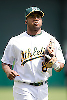 6 April 2008: A's #8 Emil Brown is seen during the Cleveland Indians 2-1 victory over the Oakland Athletics at the McAfee Coliseum in Oakland, CA.