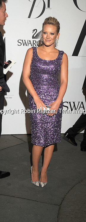 Hilary Duff.posing for photographers at The 2008 CFDA Fashion Awards on June 2, 2008 at The New York Public Library in .New York City. ..Robin Platzer, Twin Images