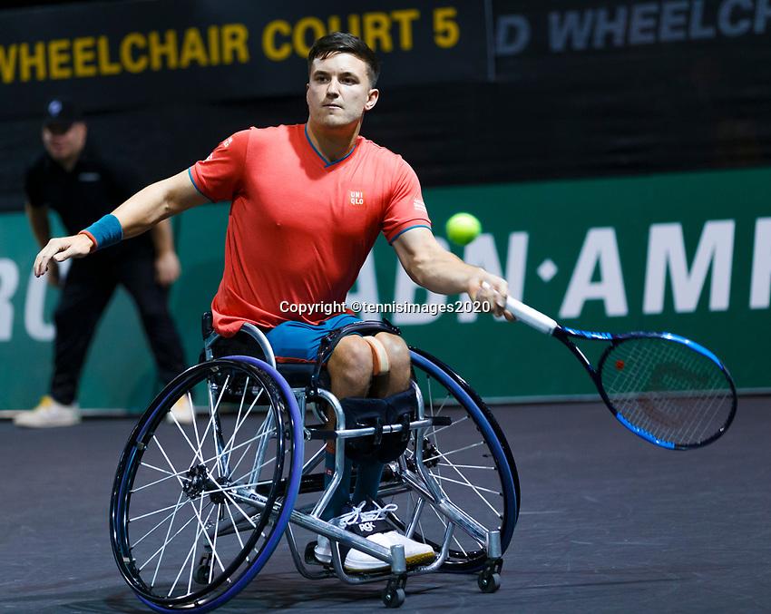 Rotterdam, The Netherlands, 14 Februari 2020, ABNAMRO World Tennis Tournament, Ahoy, <br /> Wheelchair Doubles: Gordon Reid (GBR).<br /> Photo: www.tennisimages.com