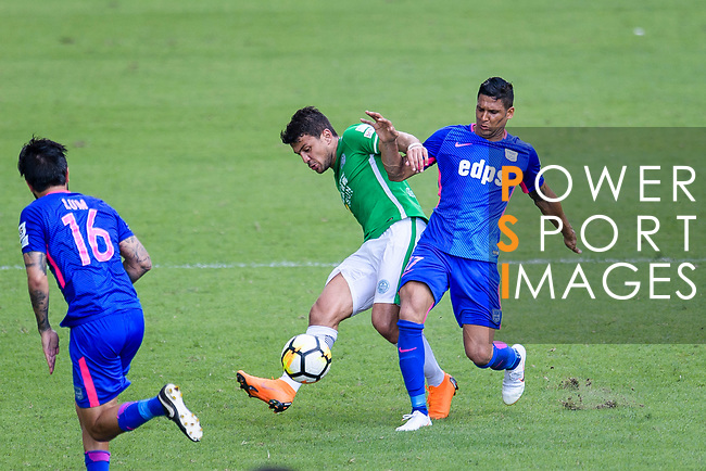 Kitchee Forward Paulinho Carreiro (R) fights for the ball with Luis Eduardo Chebel Klein Nunes of Wofoo Tai Po (L) during the Hong Kong FA Cup final between Kitchee and Wofoo Tai Po at the Hong Kong Stadium on May 26, 2018 in Hong Kong, Hong Kong. Photo by Marcio Rodrigo Machado / Power Sport Images