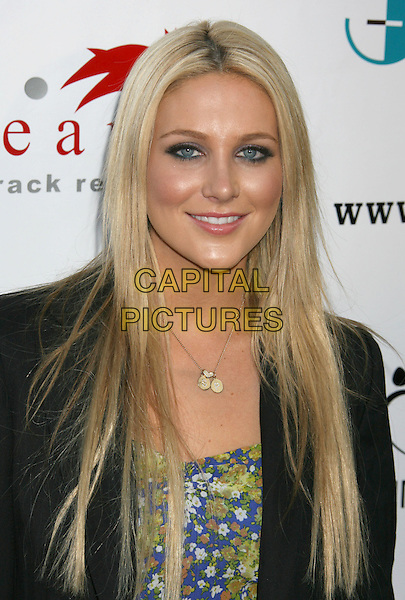 "STEPHANIE PRATT.Third Annual Bow Wow ""Wow Hollywood"" Party held at The Lot, Hollywood, California, USA..August 22nd, 2009.headshot portrait black jacket blue yellow green pattern silver necklace .CAP/ADM/MJ.©Michael Jade/AdMedia/Capital Pictures."