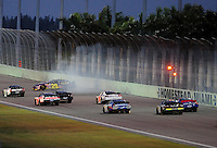 Nov. 15, 2008; Homestead, FL, USA; NASCAR Nationwide Series driver Jeff Burton (29) crashes during the Ford 300 at Homestead Miami Speedway. Mandatory Credit: Mark J. Rebilas-