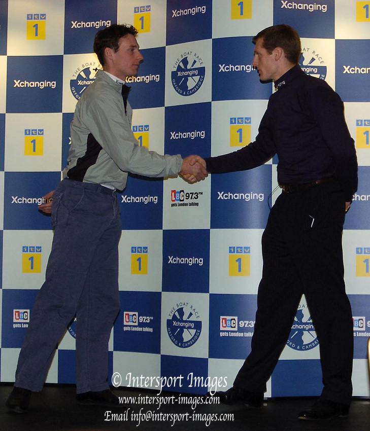 2005 Varsity Boat Race - Challenge - Putney, London., ENGLAND; Robin Bourne_Taylor, Oxford president, [right] shakes hands with Cambridge president Andrew Shannon, after issuing the challenge to row the 2005 Boat race..Photo  Peter Spurrier. .email images@intersport-images...[Mandatory Credit Peter Spurrier/ Intersport Images]