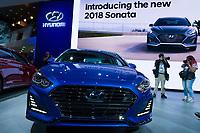 NEW YORK, NY - APRIL 12: Hyundai 2018 Sonata is displayed at the New York International Auto Show, at the Jacob K. Javits Convention Center on April 12, 2017 in Manhattan, New York. Photo by VIEWpress/Eduardo MunozAlvarez