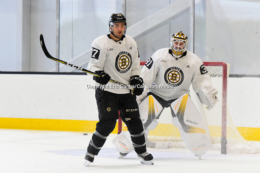 September 15, 2017: Boston Bruins center Patrice Bergeron (37) plays in front of goalie Zane McIntyre (31) during the Boston Bruins training camp held at Warrior Ice Arena in Brighton, Massachusetts. Eric Canha/CSM