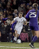 "Boston College forward Victoria DiMartino (1) dribbles. In overtime, Boston College defeated University of Washington, 1-0, in NCAA tournament ""Elite 8"" match at Newton Soccer Field, Newton, MA, on November 27, 2010."
