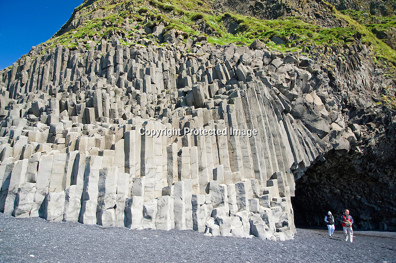 Volcanic Basalt Columns and Halsanefshellir Cavern on Vik Beach in South Iceland