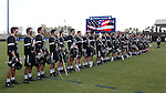12 February 2017: CSU's players during the national anthem. The Duke University Blue Devils hosted the Cleveland State University Vikings at Koskinen Stadium in Durham, North Carolina in a 2017 Division I College Men's Lacrosse match. Duke won the game 22-7 in overtime.