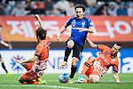 Gamba Osaka Midfielder Kurata Shu (C) in action during the AFC Champions League 2017 Group H match Between Jeju United FC (KOR) vs Gamba Osaka (JPN) at the Jeju World Cup Stadium on 09 May 2017 in Jeju, South Korea. Photo by Marcio Rodrigo Machado / Power Sport Images