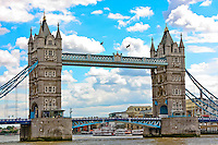 Tower Bridge in London stands our on the River Thames