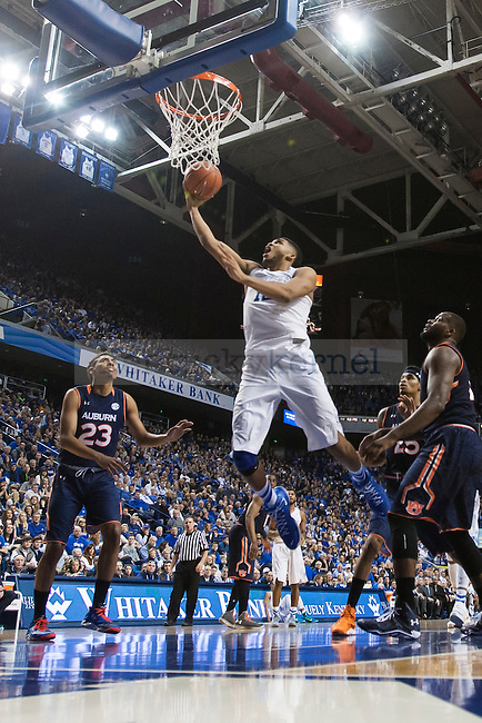 Center Karl-Anthony Towns of the Kentucky Wildcats shoots a layup during the game against the Auburn Tigers at Rupp Arena on Saturday, February 21, 2015 in Lexington, Ky. Kentucky defeated Auburn 110-75. Photo by Michael M Reaves | Staff.