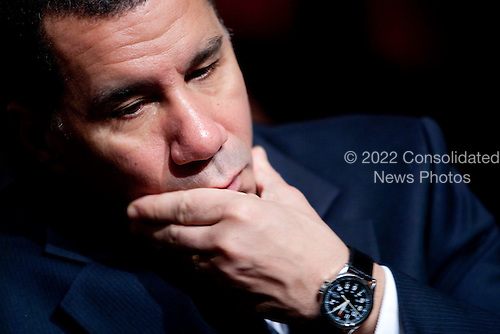 "David Paterson, governor of New York, awaits the start of a speech by United States President Barack Obama about financial reform at Cooper Union in New York, U.S., on Thursday, April 22, 2010. Obama called on the financial industry to drop its ""furious efforts"" to fight his regulation plan, saying a failure to impose tougher rules on the market will put the U.S. economic system at risk. .Credit: Daniel Acker - Pool via CNP"