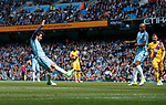 David Silva of Manchester City scores the first goal during the English Premier League match at the Etihad Stadium, Manchester. Picture date: May 6th 2017. Pic credit should read: Simon Bellis/Sportimage