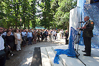 Venice, Italy - 15th Architecture Biennale 2016, &quot;Reporting from the Front&quot;.<br /> Giardini.<br /> Opening Ceremony of Netherlands Pavilion.<br /> BLUE: Architecture of U.N. Peacekeeping Missions.<br /> Dutch Defense Minister speaking.