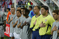 USA bench during the national anthem. The USA lost to Germany 1-0 in the Quarterfinals of the FIFA World Cup 2002 in South Korea on June 21, 2002.