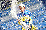 Alberto Contador (ESP) Tinkoff-Saxo sprays the bubbly after winning his 2nd stage win in a row at the end of Stage 5 of the 2014 Tirreno-Adriatico, running from Amatrice to Guardiaghrele (192 km). 16th March 2014.      <br /> Photo: Fabio Ferrari/LaPresse/www.newsfile.ie