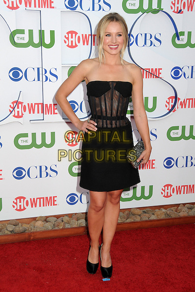 Kristen Bell.CBS, CW and Showtime Summer 2011 TCA Party held at The Pagoda, Beverly Hills, California, USA..August 3rd, 2011.full length black strapless sheer corset skit dress hand on hip clutch bag.CAP/ADM/BP.©Byron Purvis/AdMedia/Capital Pictures.