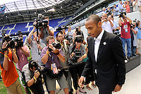 Thierry Henry enters the field for a photo opportunity prior to a New York Red Bulls press conference at Red Bull Arena in Harrison, NJ, on July 15, 2010.