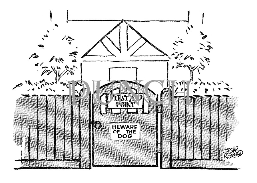 (A first aid point has a beware of the dog sign on its gate)