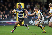Amanaki Mafi of Bath Rugby goes on the attack. Aviva Premiership match, between Bath Rugby and Wasps on February 20, 2016 at the Recreation Ground in Bath, England. Photo by: Patrick Khachfe / Onside Images