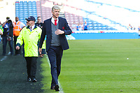 Arsenal manager Arsene Wenger goes out to see the travelling Arsenal fans during the Premier League match between Huddersfield Town and Arsenal at the John Smith's Stadium, Huddersfield, England on 13 May 2018. Photo by Thomas Gadd / PRiME Media Images.