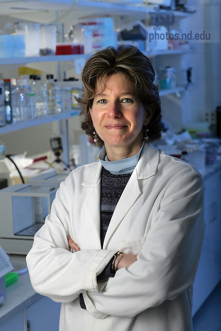 Prof. Nora Besansky in her lab in Galvin Hall on the campus of the University of Notre Dame