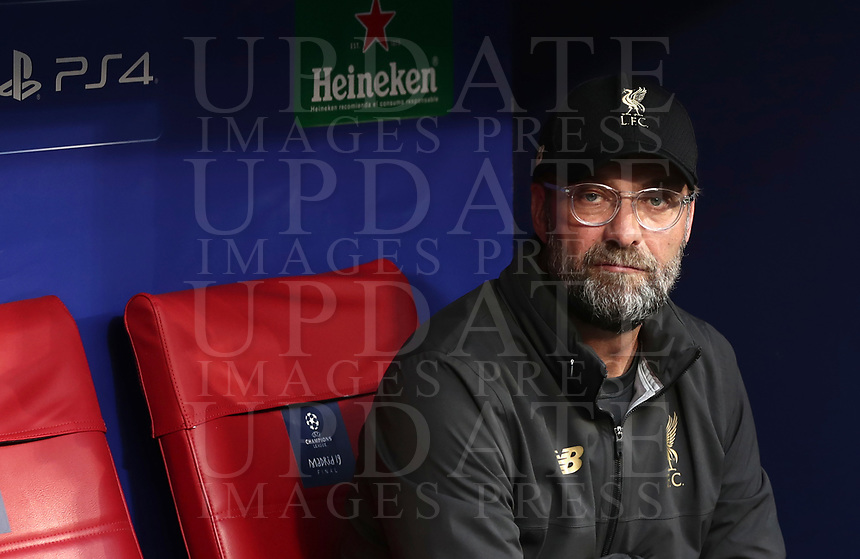 Liverpool coach Jurgen Klopp waits for the start of the UEFA Champions League final football match between Tottenham Hotspur and Liverpool at Madrid's Wanda Metropolitano Stadium, Spain, June 1, 2019.<br /> UPDATE IMAGES PRESS/Isabella Bonotto