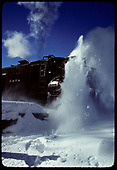 Close-up of rotary #OY throwing snow at Chama.<br /> C&amp;TS  Chama, NM  prior to 2/1978