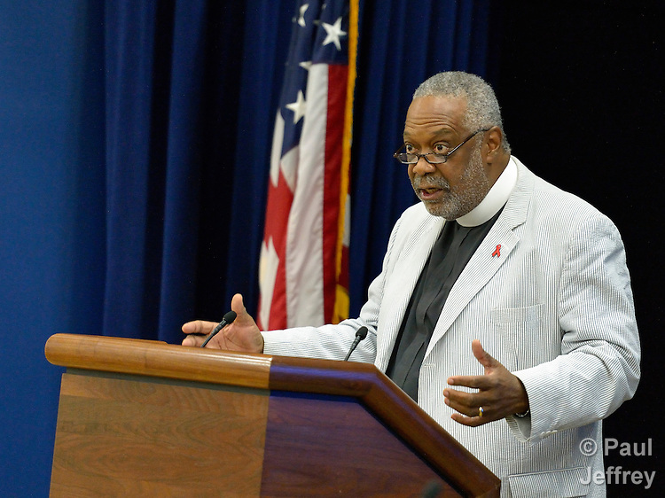 The Rev. Edwin Sanders, senior servant and founder of the Metropolitan Interdenominational Church in Nashville, speaks during a forum for faith leaders involved in the response to HIV and AIDS. The gathering was held in the White House during the XIX International AIDS Conference, which brought more than 20,000 people to the U.S. capital. The White House forum was co-sponsored by the Ecumenical Advocacy Alliance and the White House Office of Faith-based and Neighborhood Partnerships.