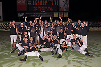 The Kannapolis Intimidators pose for a group photo following their win over the Greensboro Grasshoppers at Kannapolis Intimidators Stadium on September 8, 2017 in Kannapolis, North Carolina.  The Intimidators defeated the Grasshoppers to sweep the South Atlantic League Northern Division playoffs in two games.  (Brian Westerholt/Four Seam Images)