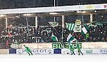 Stockholm 2015-01-30 Bandy Elitserien Hammarby IF - Sandvikens AIK :  <br /> Hammarbys supportrar med flaggor och halsdukar inf&ouml;r matchen mellan Hammarby IF och Sandvikens AIK <br /> (Foto: Kenta J&ouml;nsson) Nyckelord:  Elitserien Bandy Zinkensdamms IP Zinkensdamm Zinken Hammarby Bajen HIF Sandviken SAIK supporter fans publik supporters glad gl&auml;dje lycka leende ler le