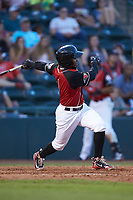 Yonny Hernandez (1) of the Hickory Crawdads follows through on his swing against the Kannapolis Intimidators at L.P. Frans Stadium on July 20, 2018 in Hickory, North Carolina. The Crawdads defeated the Intimidators 4-1. (Brian Westerholt/Four Seam Images)
