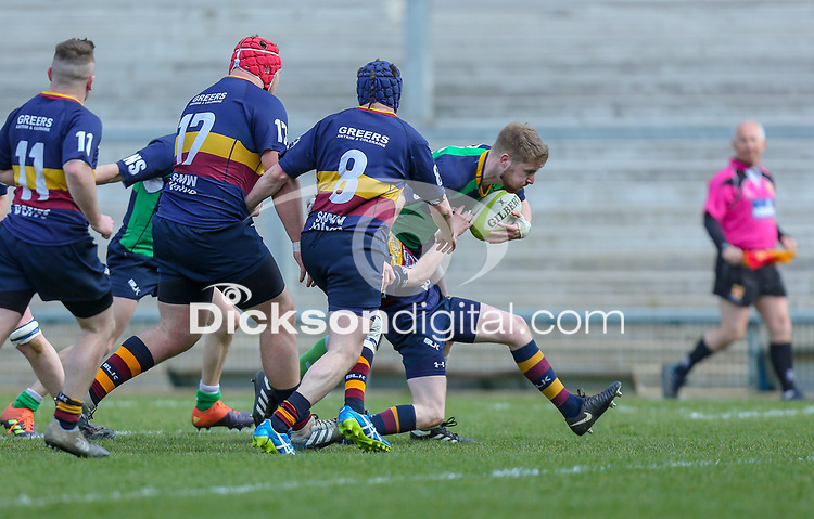 Saturday 13th April 2019 | Ballynahinch 4 vs Banbridge 3<br /> <br /> Michael Carson scores during the Crawford Cup final between Ballynahinch and Banbridge at Kingspan Stadium, Ravenhill Park, Belfast, Northern Ireland.  Photo by John Dickson / DICKSONDIGITAL