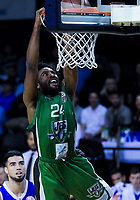 Jets' Brandon Lucas slamdunks during the national basketball league match between Wellington Saints and Manawatu Jets at TSB Bank Arena in Wellington, New Zealand on Friday, 25 May 2018. Photo: Dave Lintott / lintottphoto.co.nz