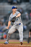 Starting pitcher Jon Heasley (16) of the Lexington Legends delivers a pitch in a game against Columbia Fireflies on Friday, May 3, 2019, at Segra Park in Columbia, South Carolina. Lexington won, 5-2. (Tom Priddy/Four Seam Images)