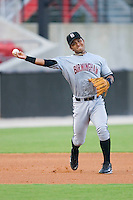 Third baseman Javier Colina #41 of the Birmingham Barons makes a throw to first base versus the Carolina Mudcats at Five County Stadium August 15, 2009 in Zebulon, North Carolina. (Photo by Brian Westerholt / Four Seam Images)