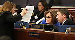 Nevada Assembly Democrats, from left, Marilyn Kirkpatrick, Debbie Smith and David Bobzien work on the Assembly floor Monday, April 25, 2011, at the Legislature in Carson City, Nev. .Photo by Cathleen Allison