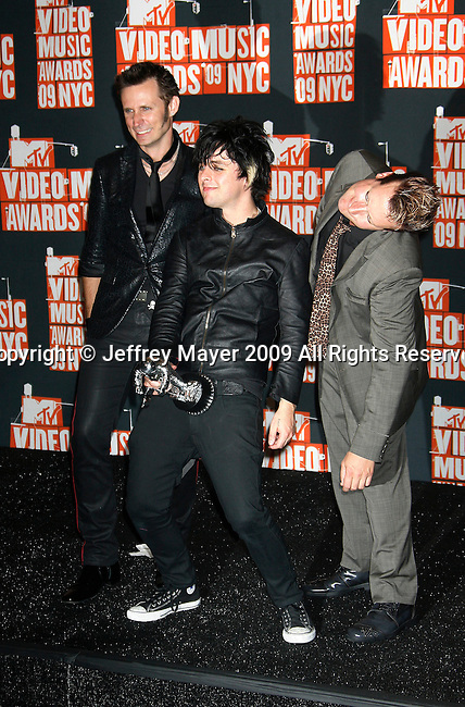 NEW YORK, New York - September 13: Billie Joe Armstrong, Mike Dirnt and Tre Cool of Green Day  pose in the press room at the 2009 MTV Video Music Awards at Radio City Music Hall on September 13, 2009 in New York City.