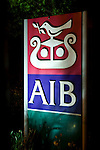Sign outside the Allied Irish Bank Group headquarters, Ballsbridge, Dublin. AIB Group Headquarters, Ballsbridge, Dublin<br /> <br /> Allied Irish Bank was recapitalised by the Irish Government by €3.5 billion confirmed on 11 February 2009