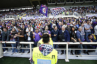 FLORENCE, Italy: October 20, 2013: AC Fiorentina beats FC Juventus 4-2 during the Serie A match played in the Artemio Franchi Stadium. In the photo the new tribune for the Fiorentina fans without architectural barriers