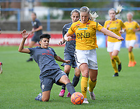 20190813 - DENDERLEEUW, BELGIUM : PAOK's Anastasia Gkatsou (left) pictured tackling LSK's Sophie Haug (right) during the female soccer game between the Greek PAOK Thessaloniki Ladies FC and the Norwegian LSK Kvinner Fotballklubb Ladies , the third and final game for both teams in the Uefa Womens Champions League Qualifying round in group 8 , Tuesday 13 th August 2019 at the Van Roy Stadium in Denderleeuw  , Belgium  .  PHOTO SPORTPIX.BE for NTB | DAVID CATRY