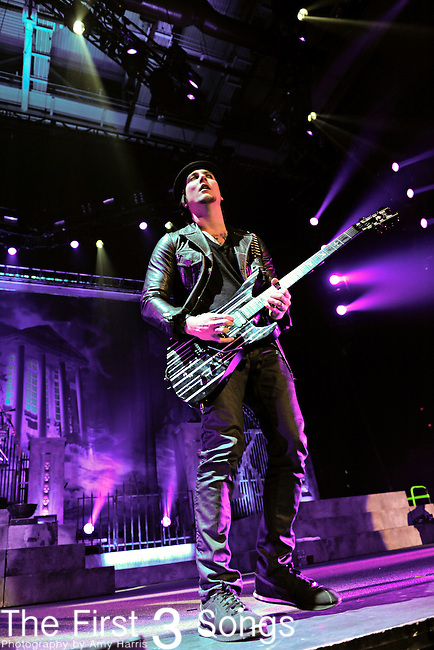 """Synyster Gates (Brian Haner) of Avenged Sevenfold performs during the """"Nightmare After Christmas Tour"""" at Rupp Arena in Lexington, Kentucky."""