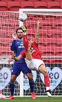 4th July 2020; Ashton Gate Stadium, Bristol, England; English Football League Championship Football, Bristol City versus Cardiff City; Filip Benkovic of Bristol City attempts an overhead shot at goal