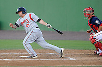 Third baseman Paddy Matera (28) of the Carolina Mudcats bats in a game against the Potomac Nationals on Friday, June 21, 2013, at G. Richard Pfitzner Stadium in Woodbridge, Virginia. Potomac won, 5-1.  The Nats catcher is Cole Leonida. (Tom Priddy/Four Seam Images)