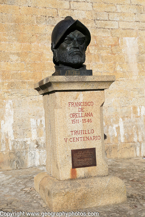 Bust sculpture Amazonian explorer Francisco de Orellana, 1511-1546, Trujillo, Caceres province, Extremadura, Spain