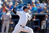 New York Yankees relief pitcher Tyler Cloyd (81) delivers a pitch during a Spring Training game against the Detroit Tigers on March 2, 2016 at George M. Steinbrenner Field in Tampa, Florida.  New York defeated Detroit 10-9.  (Mike Janes/Four Seam Images)